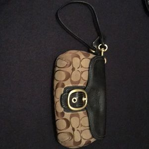 Coach leather and fabric pouch/wristlet.